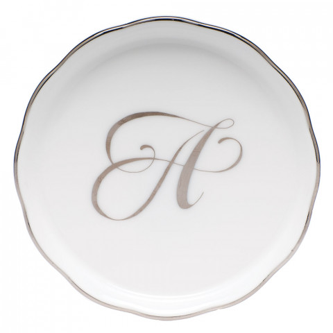 Monogrammed Platinum Edge Coaster 4 in round | Gracious Style