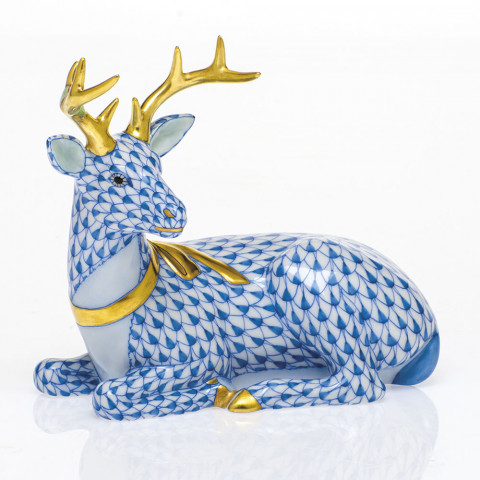 Shaded Vhb Lying Christmas Deer 4.25 in. l X 2.75 in. w X 3.75 in. h | Gracious Style