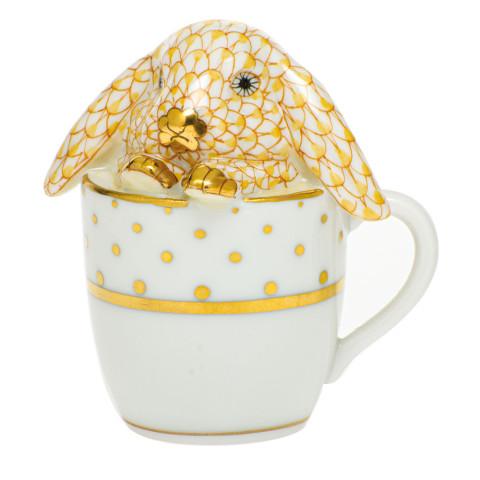 Shaded Vhj Tea Cup Bunny 2.25 in. l X 1.75 in. w X 2.5 in. h   Gracious Style