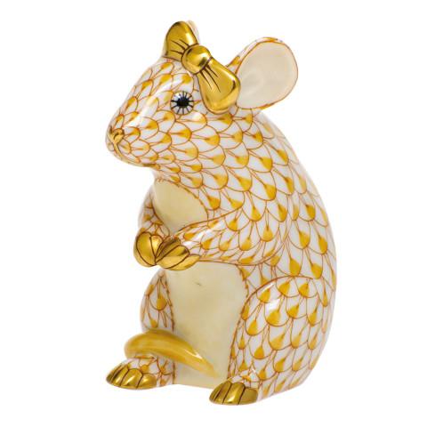 Shaded Vhj Mouse With Bow 2 in. l X 1.5 in. w X 2.5 in. h   Gracious Style