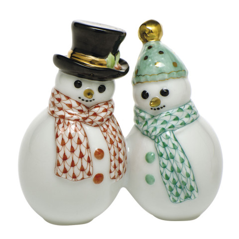 Fishnet Vh + Vhv Snowman Couple 1.5 in. l X 3 in. h | Gracious Style