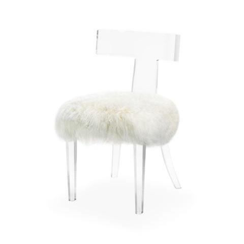 Magnificent Interlude Home Tristan Klismos Chair Ivory Sheepskin Inzonedesignstudio Interior Chair Design Inzonedesignstudiocom