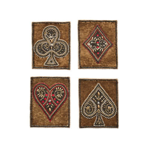 Poker Set Of 4 Multi Coasters | Gracious Style