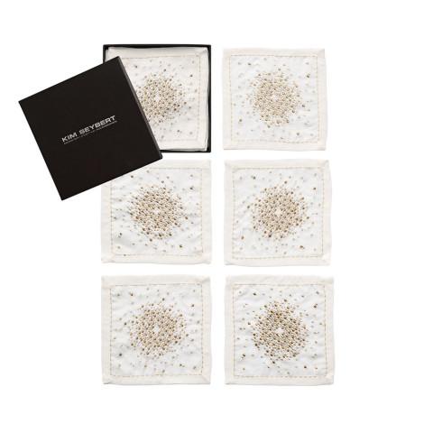 Starburst Set Of 6 White/Gold/Silver Cocktail Napkins | Gracious Style