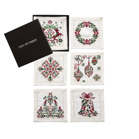Yuletide Set Of 6 White/Multi Cocktail Napkins | Gracious Style