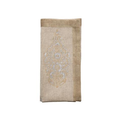 Paisley Natural/Gold/Silver Napkin | Gracious Style