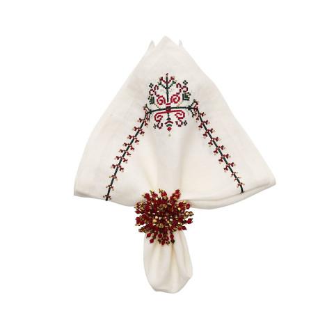 Yuletide White/Multi Napkin | Gracious Style