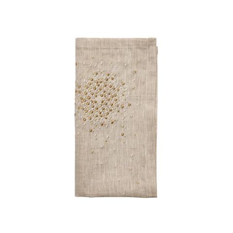 Starburst Natural/Gold/Silver Napkin | Gracious Style