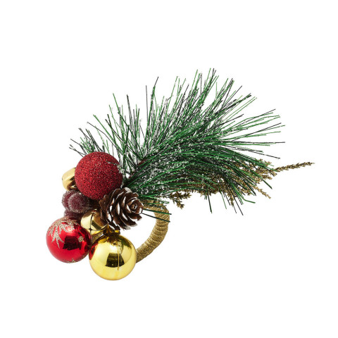 Christmas Sprig Red/Green/Gold Napkin Ring | Gracious Style