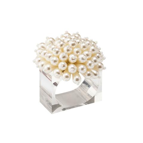 Zinnia Pearl Napkin Ring | Gracious Style