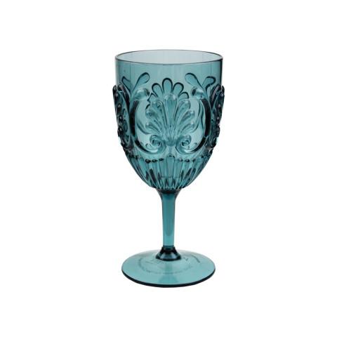 Fleur Polycarbonate Teal Wine Glass 16 Oz | Gracious Style