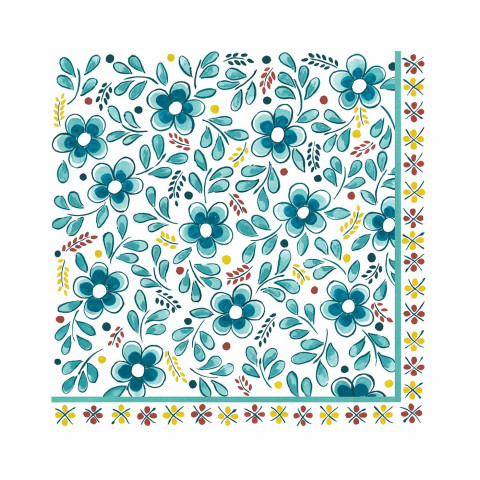 "Madrid Turquoise Paper Dinner Napkins 15.75"" X 15.75"" 20Pk 