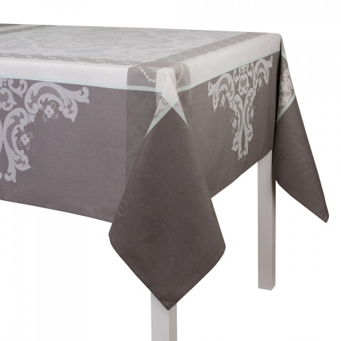 Azulejos Grey Damask Table Linens | Gracious Style