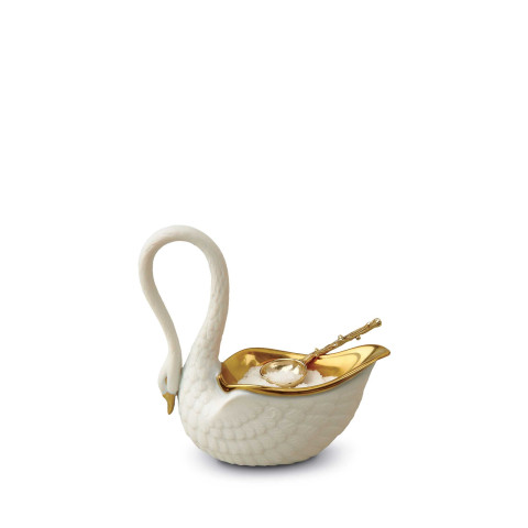 White Swan Salt Cellar w/ 14kt Gold Plated Spoon | Gracious Style