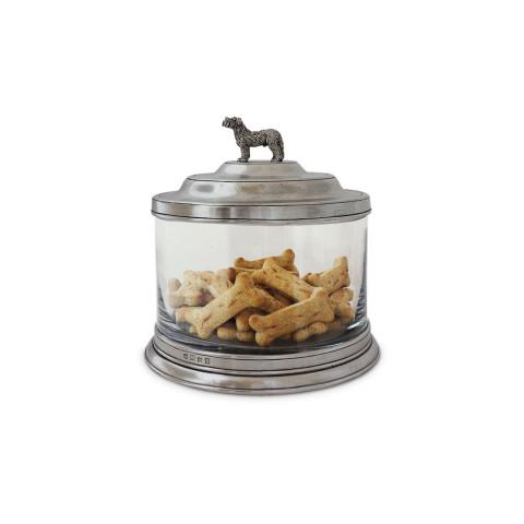 "Glass Cookie Jar W/Dog Finial 8.3"" Dia x 8.25"" H | Gracious Style"