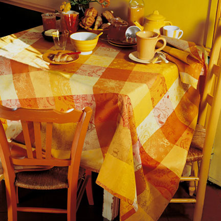 Mille Couleurs Soleil Coated Stain-Resistant Damask Table Linens | Gracious Style