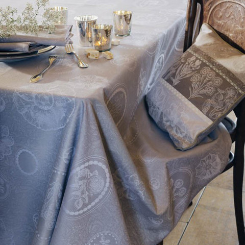 Mille Eclats Macaron Coated Stain-Resistant Damask Table Linens | Gracious Style
