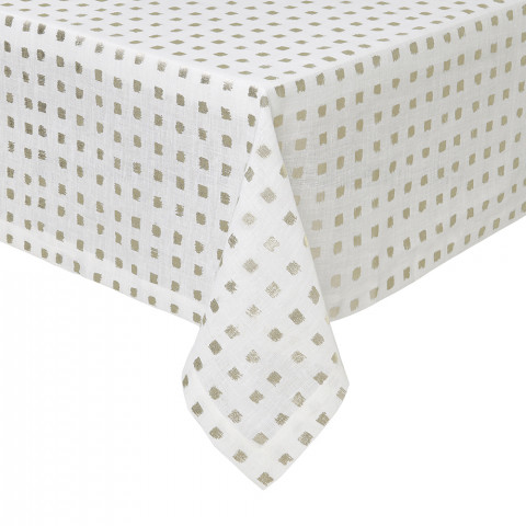 Antibes Tablecloth 66 x 128 in Gold Foil Print | Gracious Style