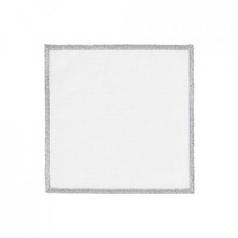 Bel Air Cocktail Napkins Silver 6 x 6 in, Set of Four | Gracious Style