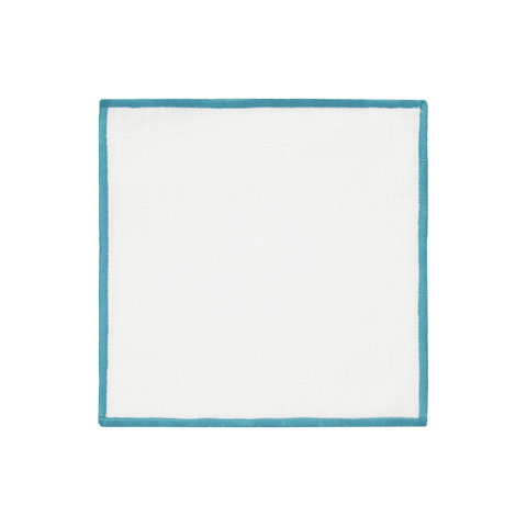 Bel Air Cocktail Napkins Turquoise 6 x 6 in, Set of Four | Gracious Style