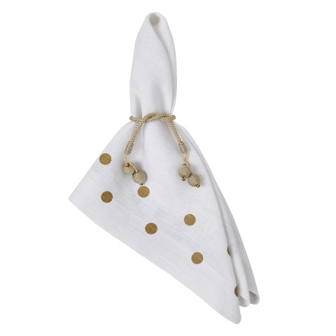 Belle 20 x 20 in Napkins White with Gold Dots, Set of Four | Gracious Style