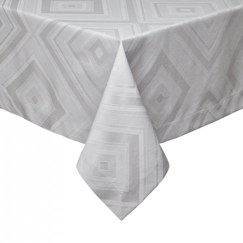Brussels Gray Stain-Resistant Damask Table Linens | Gracious Style