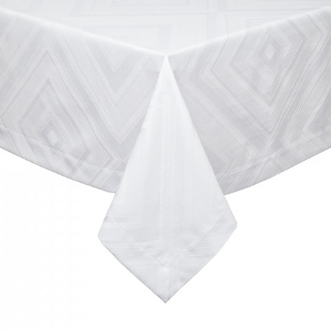 Brussels White Stain-Resistant Damask Table Linens | Gracious Style
