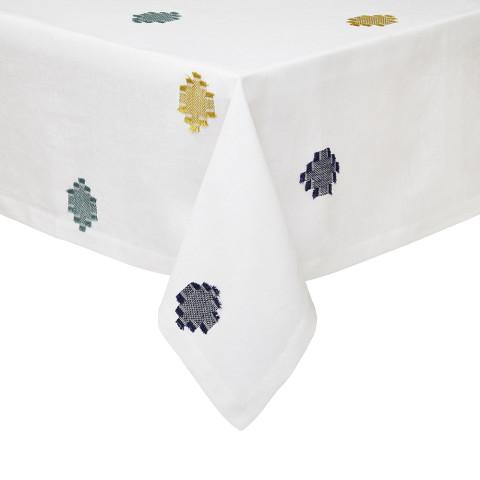 Cap Ferrat Blue/Mustard Stain-Resistant Table Linens | Gracious Style