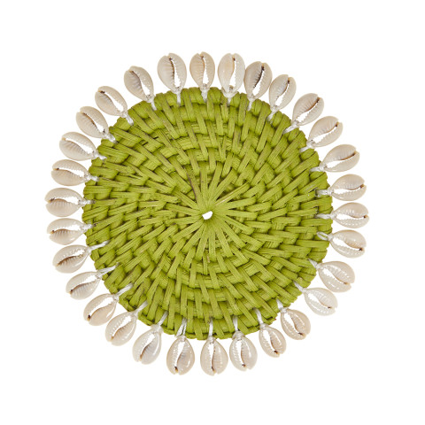 Capiz 4 in round Coasters with Gift Box Green, Set of Four | Gracious Style