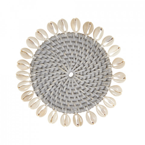 Capiz 4 in round Coasters with Gift Box Gray, Set of Four | Gracious Style