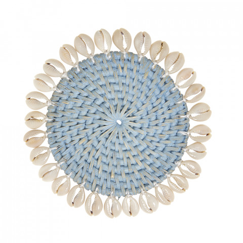 Capiz 4 in round Coasters with Gift Box Light Blue, Set of Four | Gracious Style