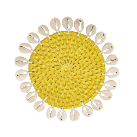 Capiz 4 in round Coasters with Gift Box Yellow, Set of Four | Gracious Style