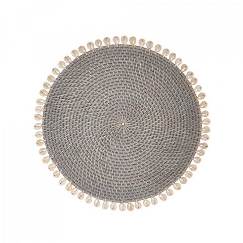 Capiz 14 in round Placemats Gray, Set of Four | Gracious Style
