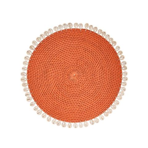 Capiz 14 in round Placemats Orange, Set of Four | Gracious Style