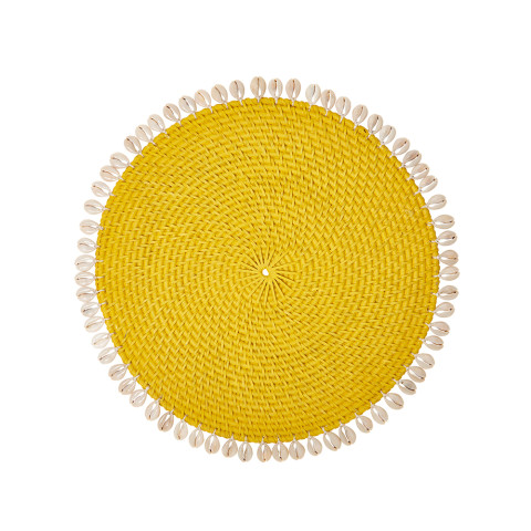 Capiz 14 in round Placemats Yellow, Set of Four | Gracious Style