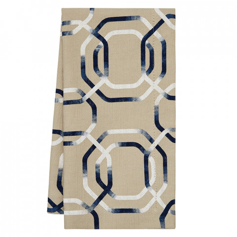 Charleston 20 x 20 in Napkins Beige with Blue Print, Set of Four | Gracious Style