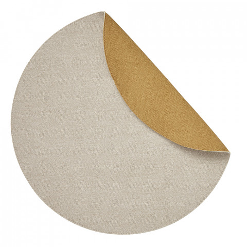Chic Denim Placemats Reversible Round Beige and Yellow, Set of Four | Gracious Style