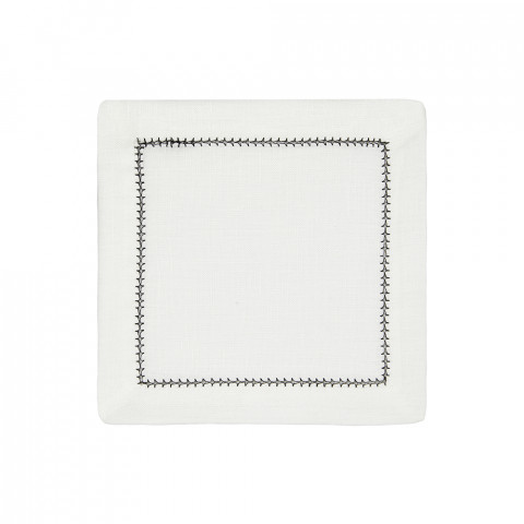 Dolce Cocktail Napkins Black 6 x 6 in, Set of Four | Gracious Style