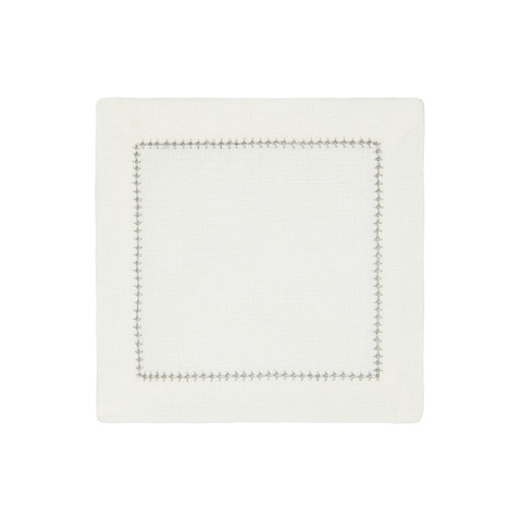 Dolce Cocktail Napkins Silver 6 x 6 in, Set of Four | Gracious Style