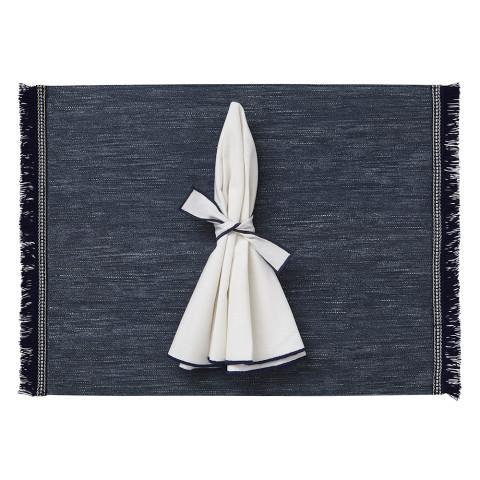 Fringe Placemats Rectangle Navy Chambray/Navy Fringe, Set of Four | Gracious Style