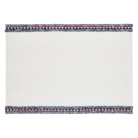 Fringe Placemats Rectangle White/Blue-Red Fringe, Set of Four | Gracious Style