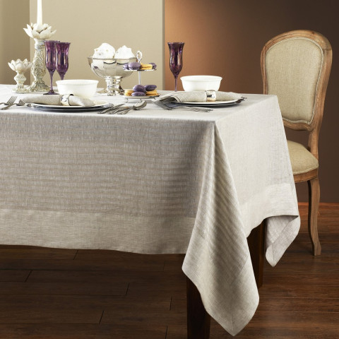 Greenwich Tablecloth 70 x 162 in Beige | Gracious Style