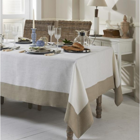 Hamptons Beige Border Stain-Resistant Damask Table Linens | Gracious Style