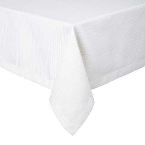Manhattan White Stain-Resistant Damask Table Linens | Gracious Style
