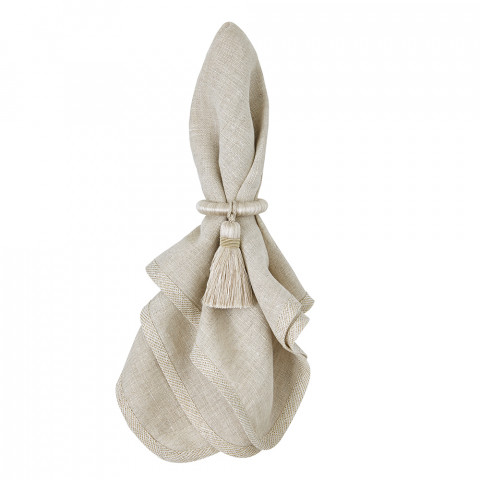 Milano 20 x 20 in Napkins Beige with Gold Trim, Set of Four | Gracious Style