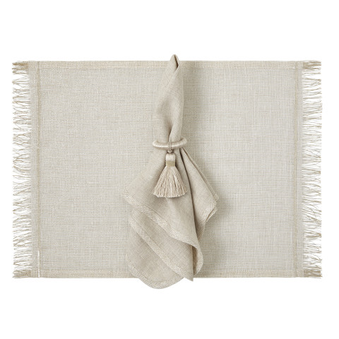 Milano 14 x 20 in Placemats Beige with Gold Trim, Set of Four | Gracious Style