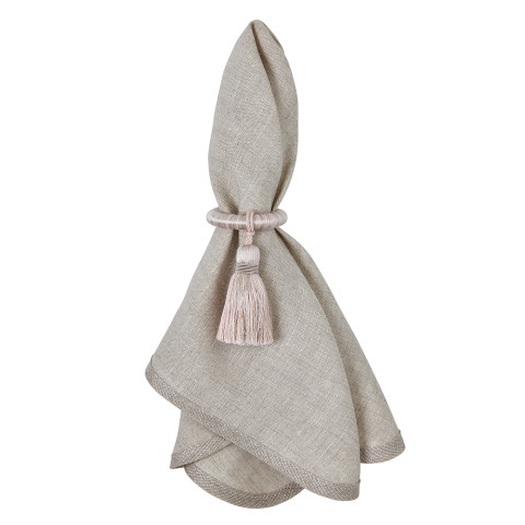 Milano 20 x 20 in Napkins Beige with Silver Trim, Set of Four | Gracious Style