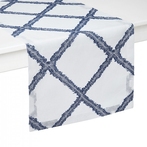 Mykonos Runner 16 x 90 in Blue and White | Gracious Style