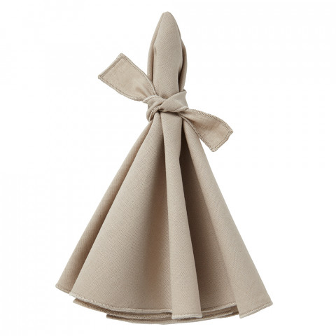 Napa Round Napkins Beige/Beige 22 in round, Set of Four | Gracious Style