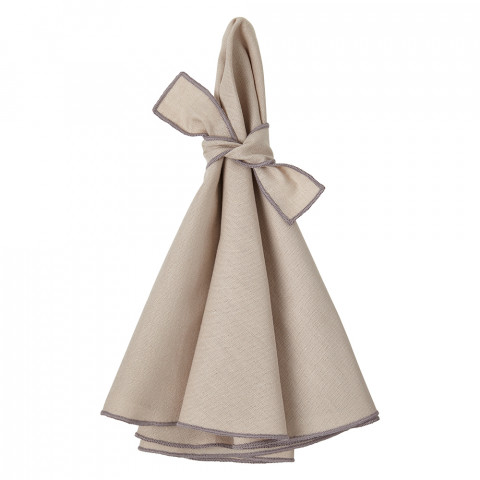 Napa Round Napkins Beige/Gray 22 in round, Set of Four | Gracious Style